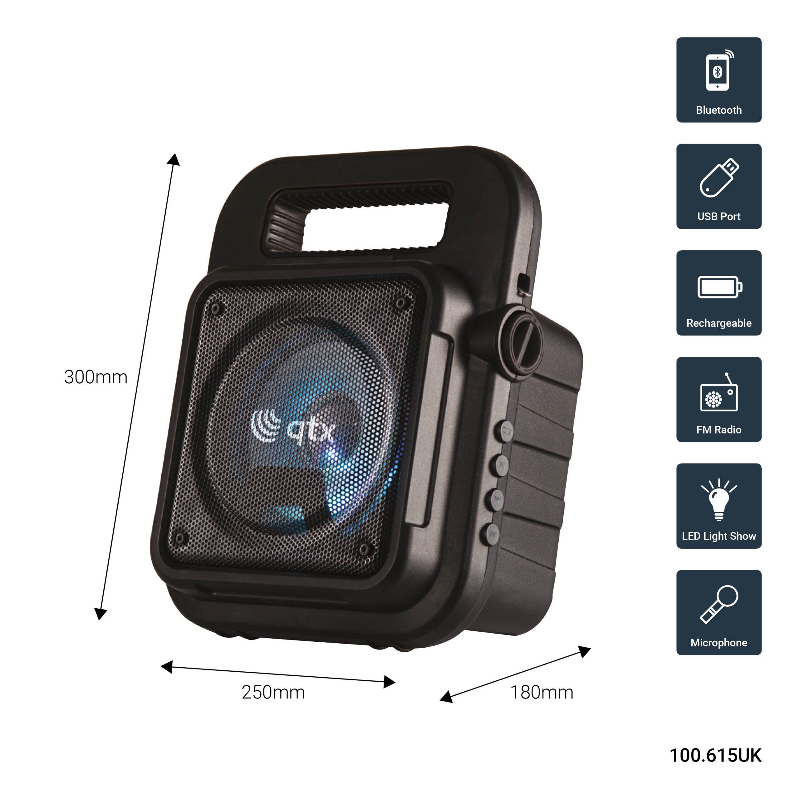 Qtx Effect Φορητό Ηχείο Πάρτυ Bluetooth