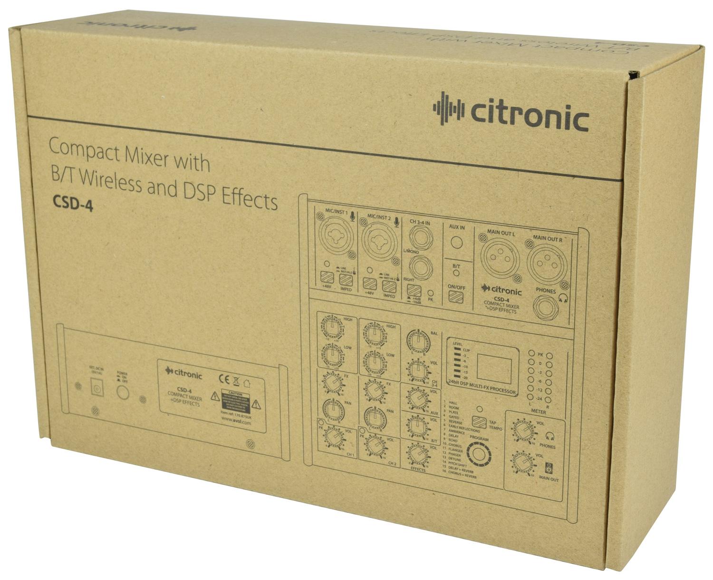 Citronic CSD-4 Compact Κονσόλα Μίξης 3 Καναλιών με Bluetooth και Εφέ DSP (Τεμάχιο)