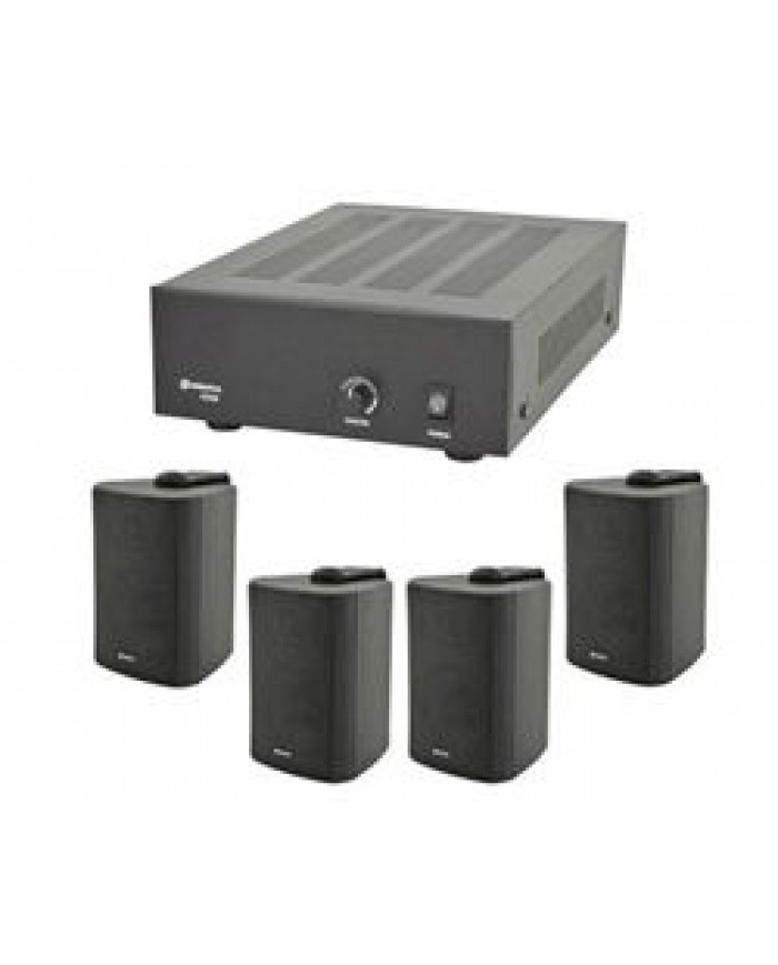 Ολοκληρωμένο Σύστημα Επαγγελματικού Ήχου και ήχου Καταστημάτων με Ενισχυτή και 4 Ηχεία (Τοίχου)