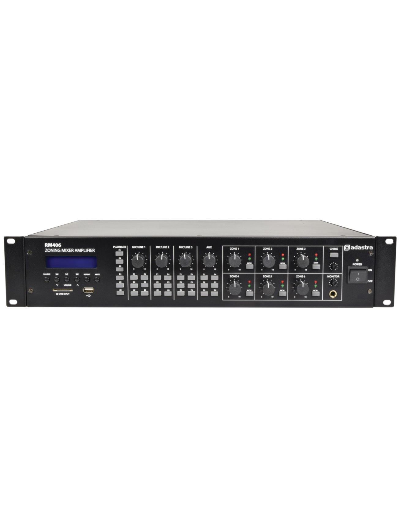Adastra RM406 100V/8Ω Μίκτης-Ενισχυτής 6 Ζωνών Με USB/SD/FM & Bluetooth 6x40W 2U