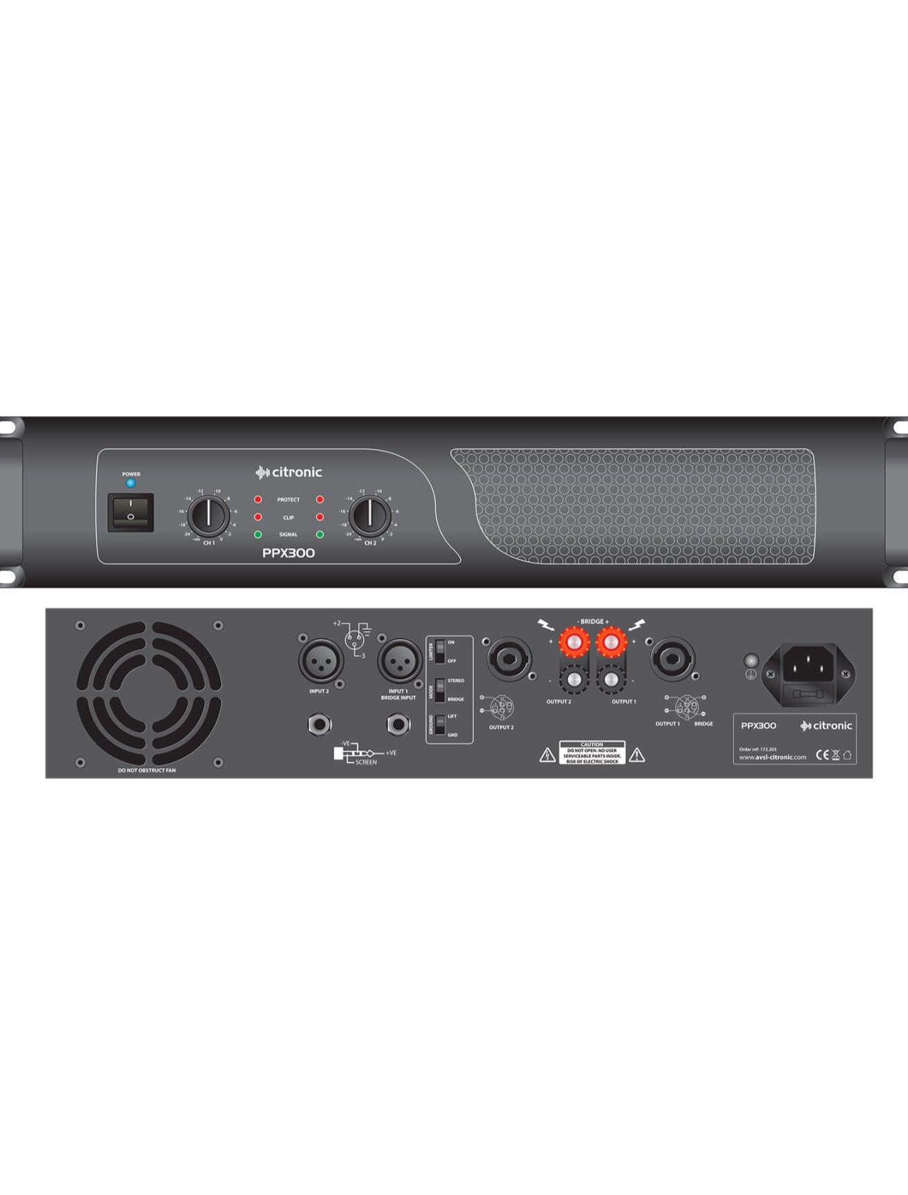 Citronic PPX300 Τελικός Ενισχυτής 2x150W 2U