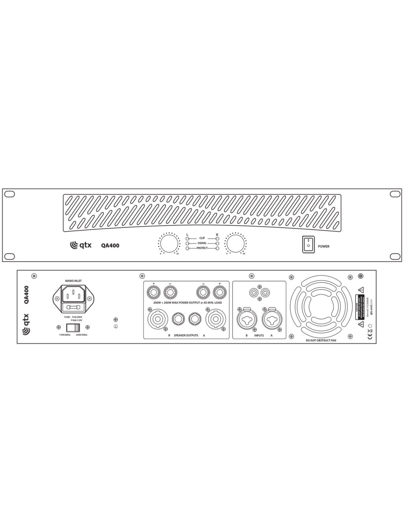 Qtx QA400 Τελικός Ενισχυτής 2x100W 2U