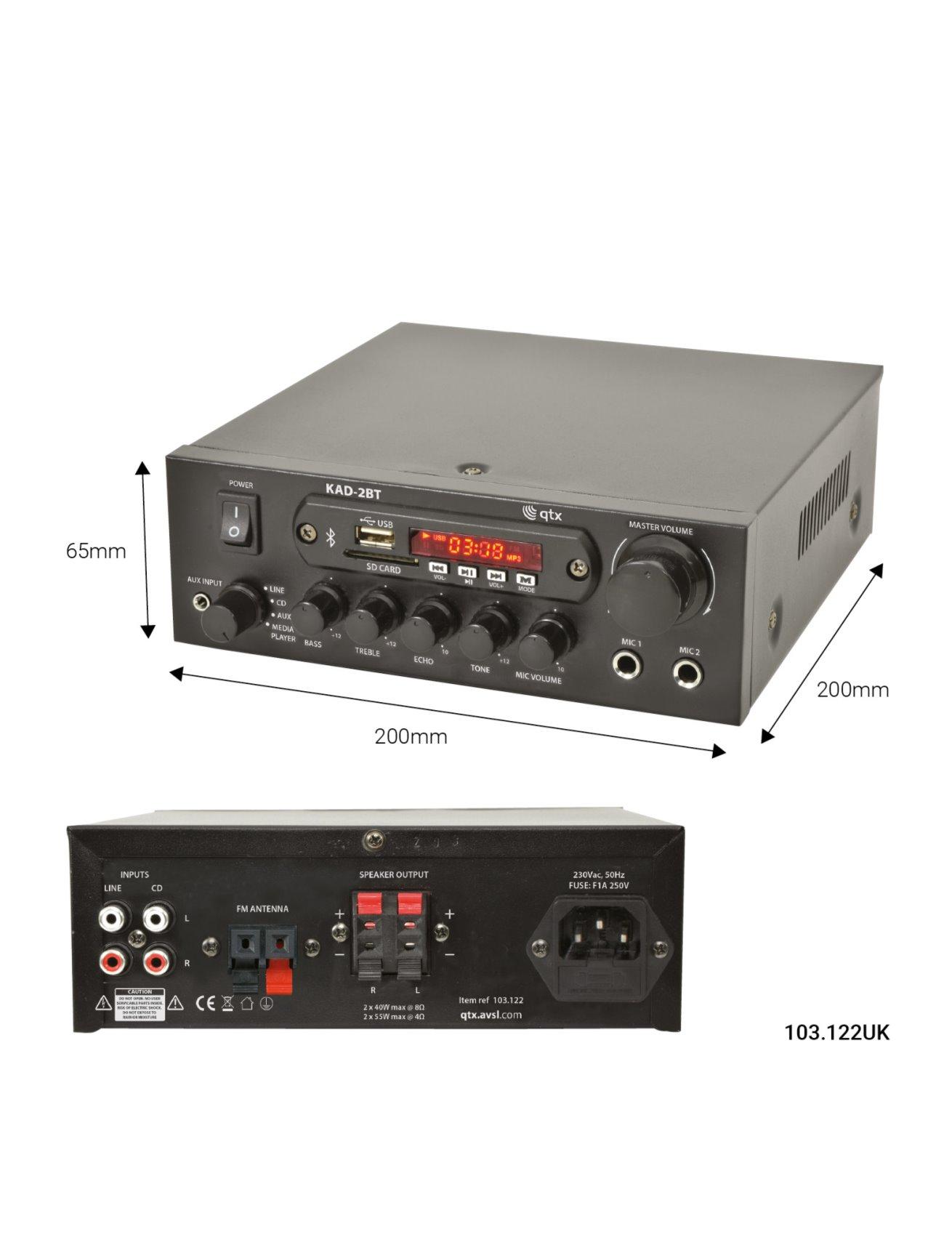 Qtx KAD-2BT Ψηφιακός Στερεοφωνικός Ενισχυτής με USB/SD/FM & Bluetooth 55W