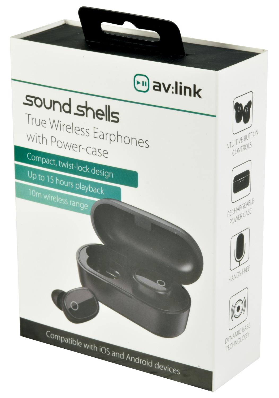 AvLink Sound Shells Ασύρματα Bluetooth Ακουστικά με Θήκη Ασύρματης Φόρτισης – Μαύρο