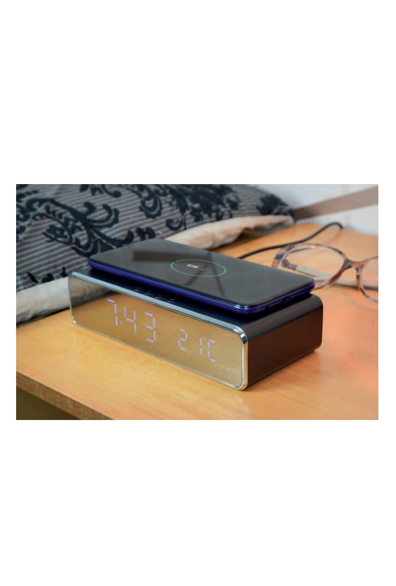 Ψηφιακό Ρολόι Ασύρματης Γρήγορης φόρτισης Κινητού Qi Με Ξυπνητήρι & Ένδειξη Θερμοκρασίας