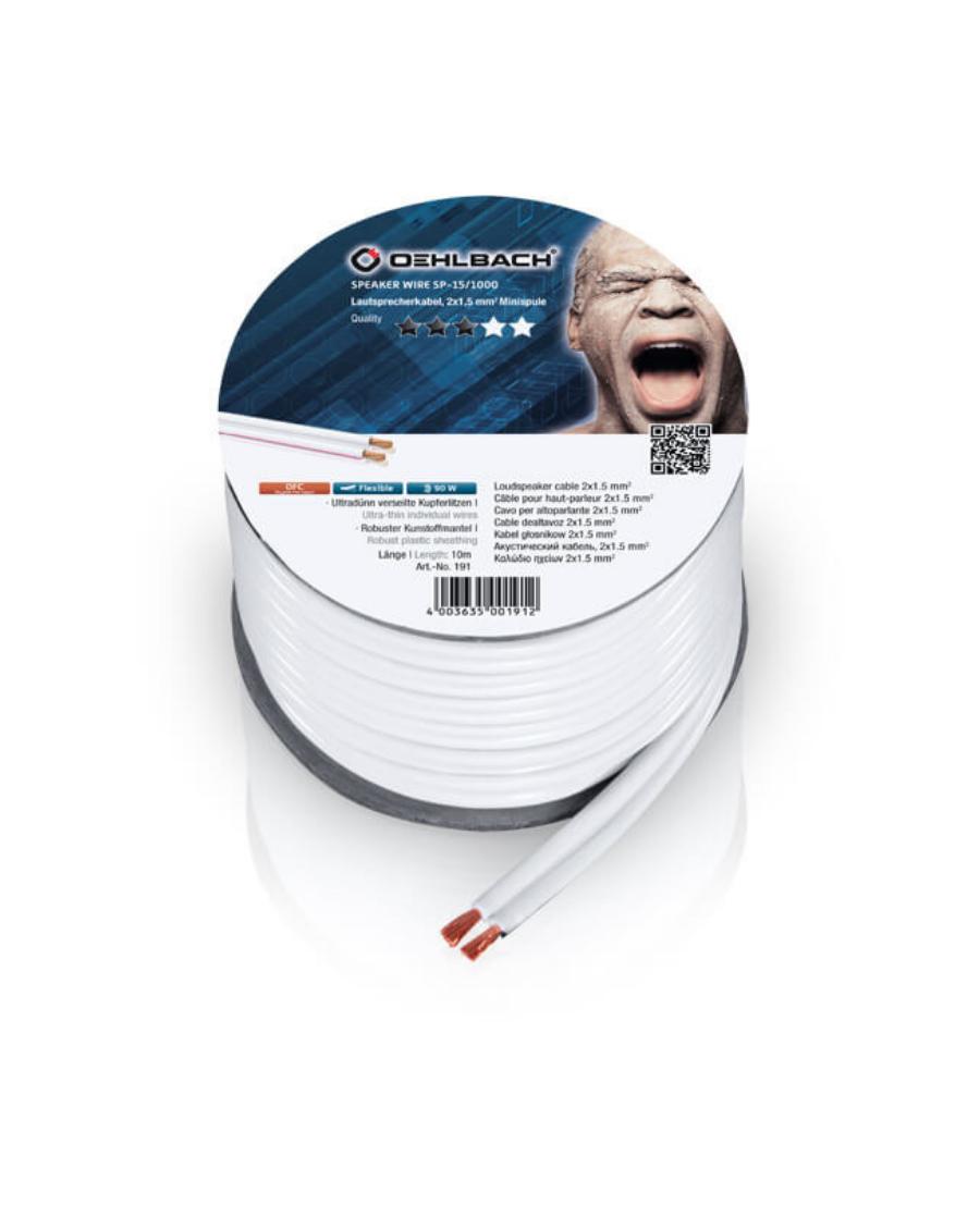 Oehlbach Speaker Wire SP-15 Καλώδιο Ηχείων 2 x 1,5 mm² 10m Λευκό