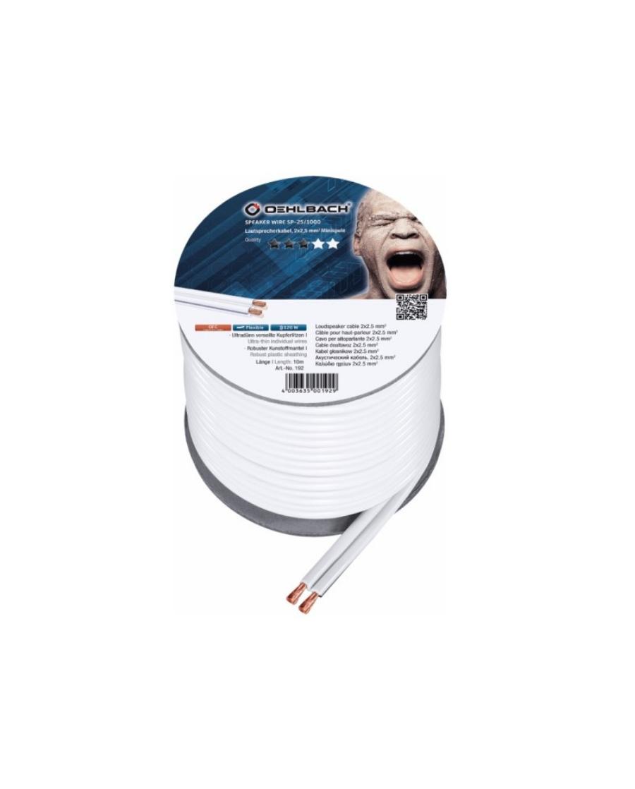 Oehlbach Speaker Wire SP-25 Καλώδιο Ηχείων 2 x 2.5 mm² 10m Λευκό