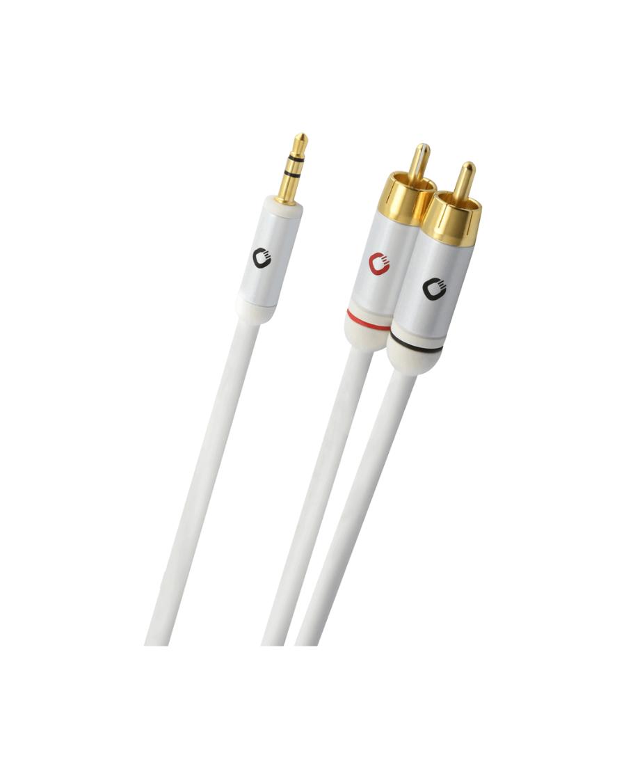 OEHLBACH i-Connect J Καλώδιο ήχου φορητής συσκευής  3.5mm Jack  – 2x RCA  3m Λευκό (60003)